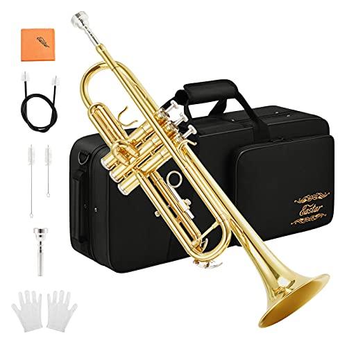 Eastar Bb Trompete mit Koffer Mundstück Reinigungsanzug Reinigungstuch,Gold (ETR-380)