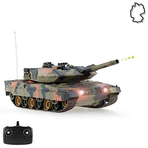 HSP Himoto German Leopard 2A5 Airsoft KFOR-Edition - RC Ferngesteuerter Panzer mit Airsoft Schuss, Sound und Beleuchtung, Modell im Maßstab 1:24 inkl. Akku, Ladegerät, Fernsteuerung und Munition