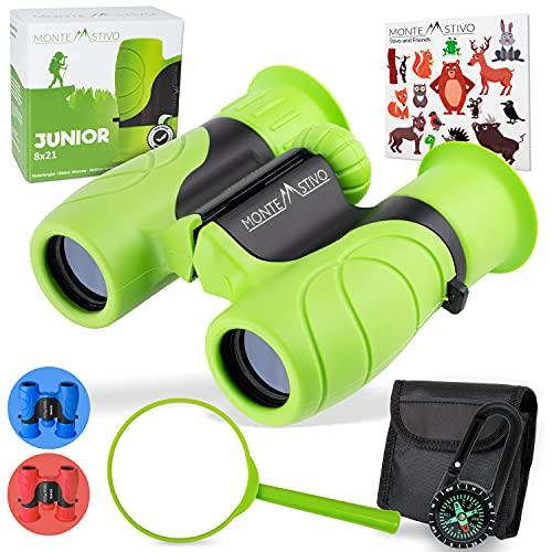 Monte Stivo® Junior   Vergleichssieger Fernglas für Kinder 8x21 mit Lupe & Kompass   Geschenk-Set Spielzeug für Junge Mädchen ab 4 Jahre