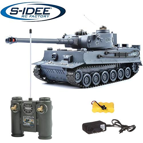 s-idee® 22002 Battle Panzer 99807 German Tiger 1:28 mit integriertem Infrarot Kampfsystem 2.4 Ghz RC R/C Ferngesteuerter Panzer Tank Kettenfahrzeug IR Schussfunktion Sound Licht Neu
