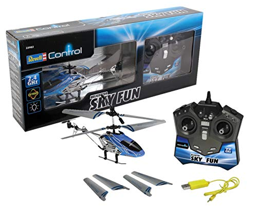 Revell Revell_23982 Control RC Helikopter, ferngesteuerter Hubschrauber für Einsteiger, 2,4 GHz Fernsteuerung, einfach zu fliegen, Gyro, stabiles Chassis, LED-Beleuchtung, USB-Ladegerät - SKY FUN 23982 RC Helikopter SKY FUN, integrierter Flugakku, USB-Ladekabel, GHz-Fernbedienung, einfach zu fliegen, stabiles Chassis Weiß/Blau/Schwarz