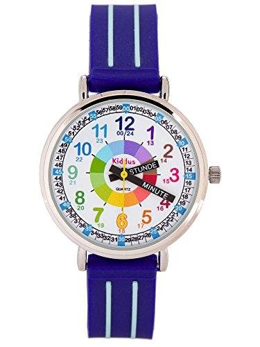 KIDDUS Lern Armbanduhr für Kinder, Jungen und Mädchen. Analoge Armbanduhr mit Zeitlernübungen. Zeit Lehrer. Time Teacher. Minuten und Stunden Beschriftet