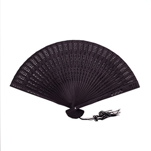 Sonnenscheinschuhe® Schwarzer Fächer Handfächer 20cm Sandelholz Fächer Holz Flamenco schwarz